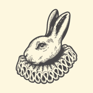 While rabbit from Alice in Wonderland illustration for an article Lawyering in Wonderland: legal battles and the hidden world of arbitration by Sofia Wadler.